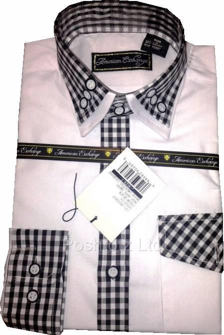 American-Exchange-Boys-White-Shirt-with-Black-Gingham-Detail-Prom-Party-2-16yrs
