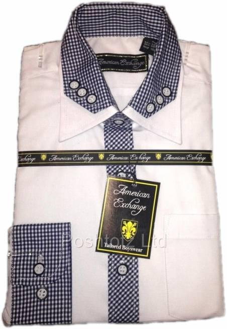 American-Exchange-Boys-White-Shirt-with-Baby-Navy-Gingham-Detail-Party-2-16yr