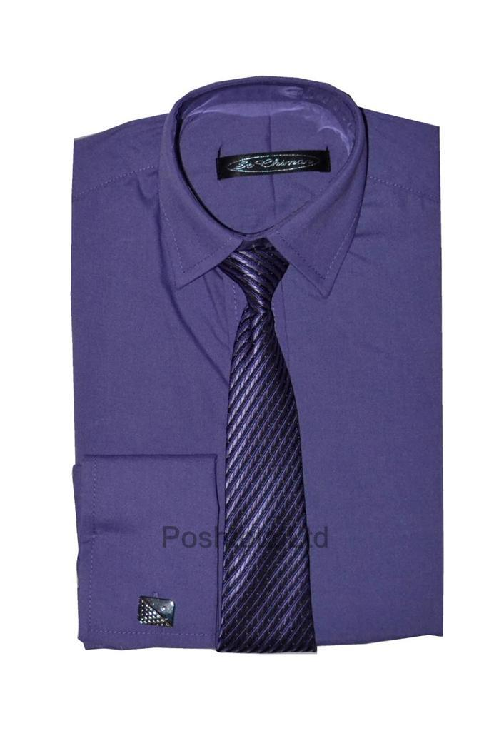 Poshtotz-Plain-Purple-Shirt-Tie-Cufflinks-Set-Age-1-15-Years