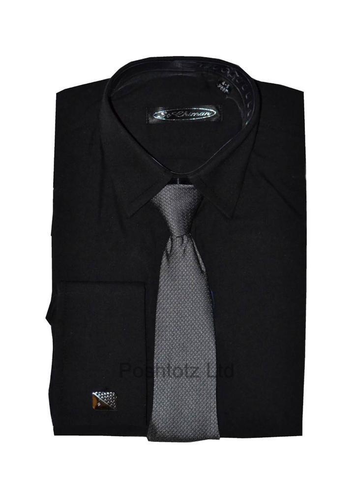 Poshtotz-Plain-Black-Shirt-Tie-Cufflinks-Set-Age-1-15-Years