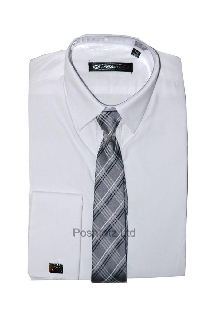 Poshtotz-Plain-White-Shirt-Tie-Cufflinks-Set-Age-1-15-Years