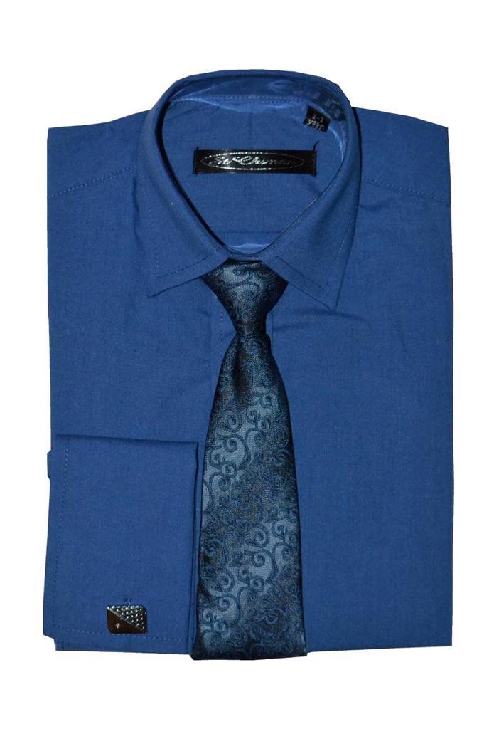Poshtotz-Plain-Blue-Shirt-Tie-Cufflinks-Set-Age-1-15-Years