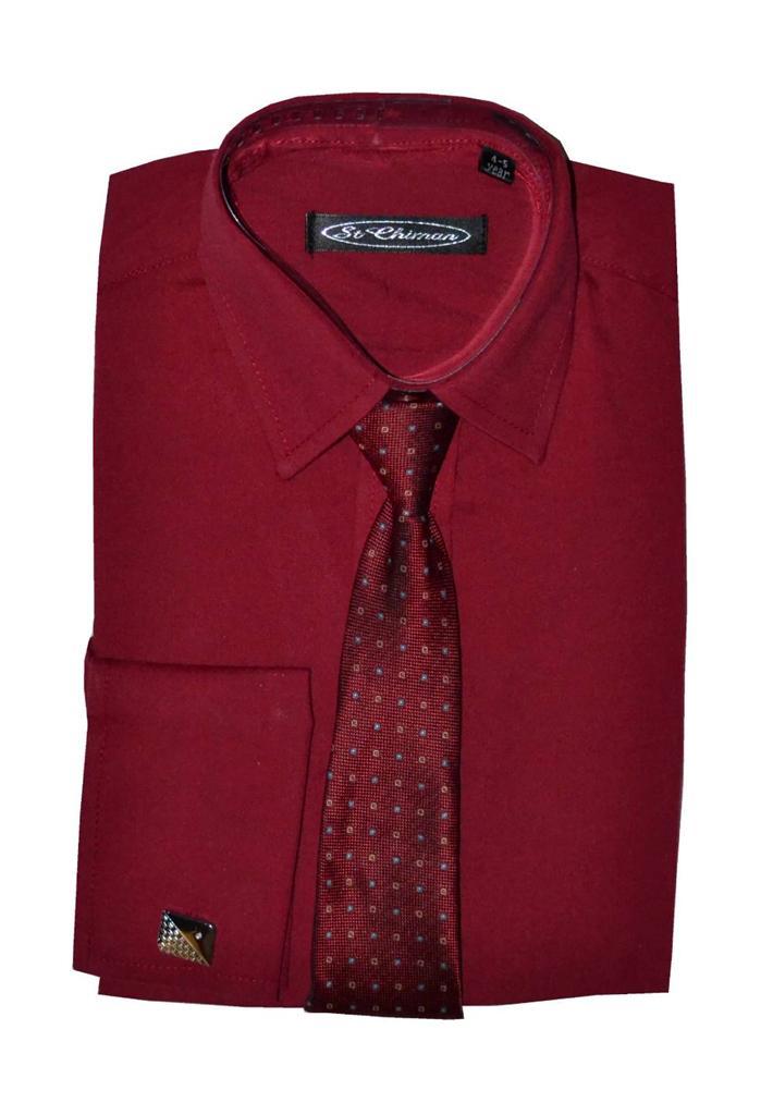 Poshtotz-Plain-Wine-Shirt-Tie-Cufflinks-Set-Age-1-15-Years