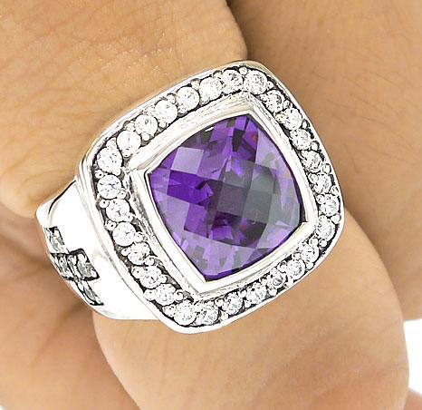 BIG AMETHYST CROSS BISHOP RING Sz 10 DIAMOND STERLING 925 SILVER MENS