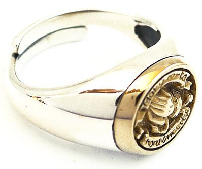 gold praying sterling 925 silver ring sz 10 serenity