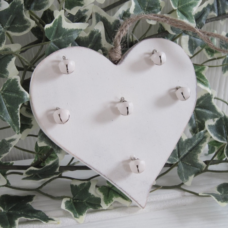 Shabby-Rustic-Country-Chic-CREAM-Wood-Bells-CHRISTMAS-TREE-Shelf-Decoration