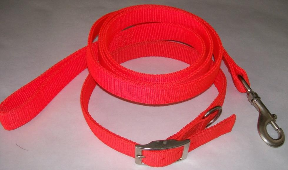Nylon dog Leash - Hunter Orange - 6' X 1""