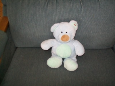 Ty Baby Pluffie Blue Green Bear with Brown Nose Plush Soft