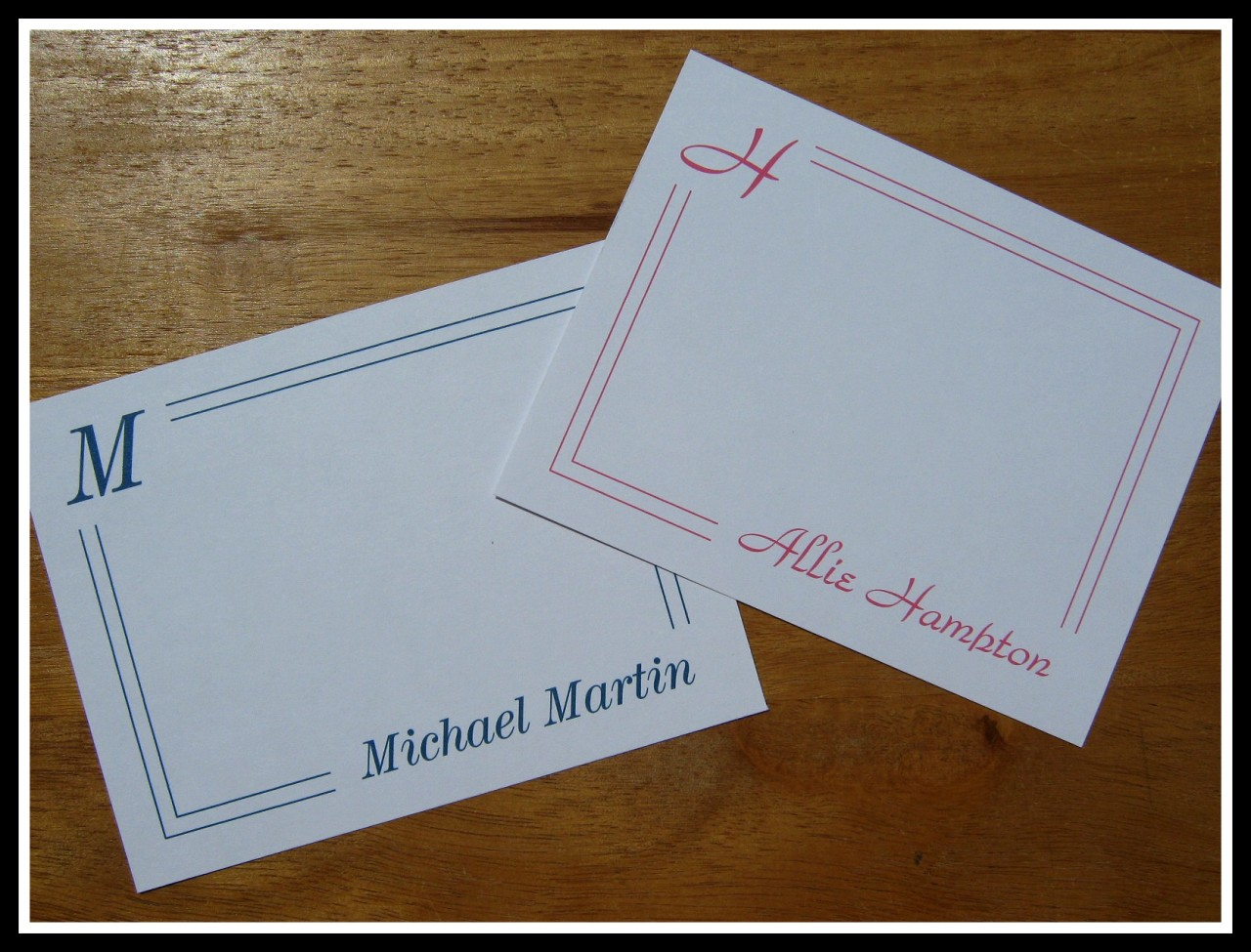 Classic Initial Name Personalized Note Cards Thank You
