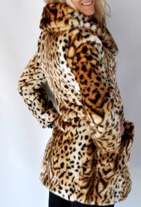 New Womens Guess Leopard Animal Print Faux Fur Coat Jacket