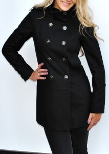 New Womens Guess Los Angeles Black Wool Military Style