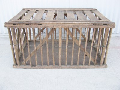 Primitive Farm Antique Wooden Coop Bird Cage Coffee Table