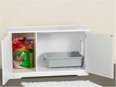 New Secret Cat Litter Box Cabinet White Fits In Most Bathrooms Discreet Pet Poop Ebay