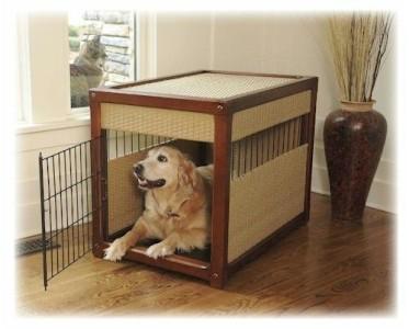 New indoor dog crate elegant design pet containment wood for Design indoor dog crate