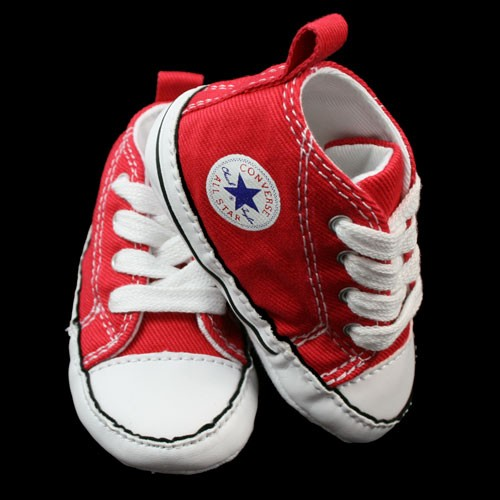 CONVERSE ALL STAR INFANT BABY RED HI TOPS PRAM SHOES CRIB