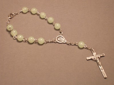 Bracelet 7mm Glow in The Dark Beads Silver Tone Crucifix Auto eBay Make up eyes