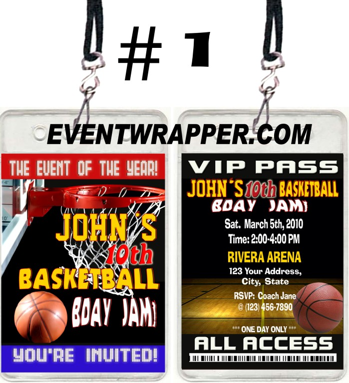 basketball birthday party ticket invitations vip passes uprint available ebay. Black Bedroom Furniture Sets. Home Design Ideas