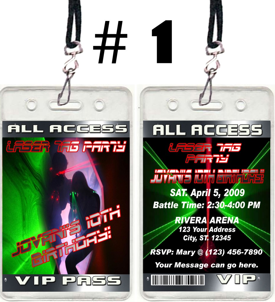 LASER TAG TICKET VIP BIRTHDAY PARTY INVITATIONS AND FAVORS ...