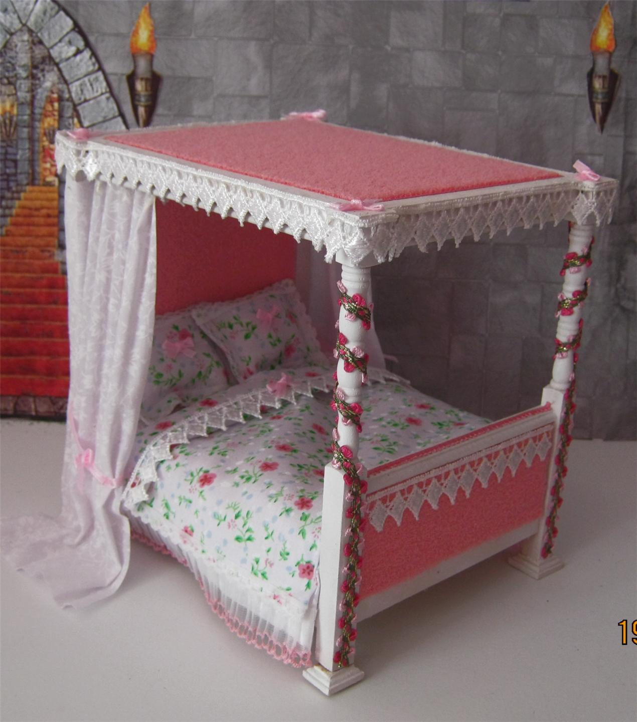 Doll House Castle Fantasy Princess Fairytale 4 Poster Bed
