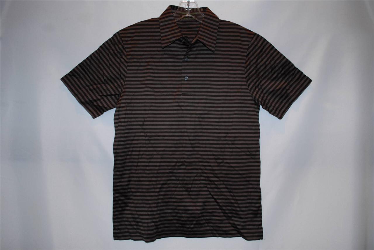 Men 39 s joseph abboud short sleeve dress shirt polo brown for Joseph abboud dress shirt