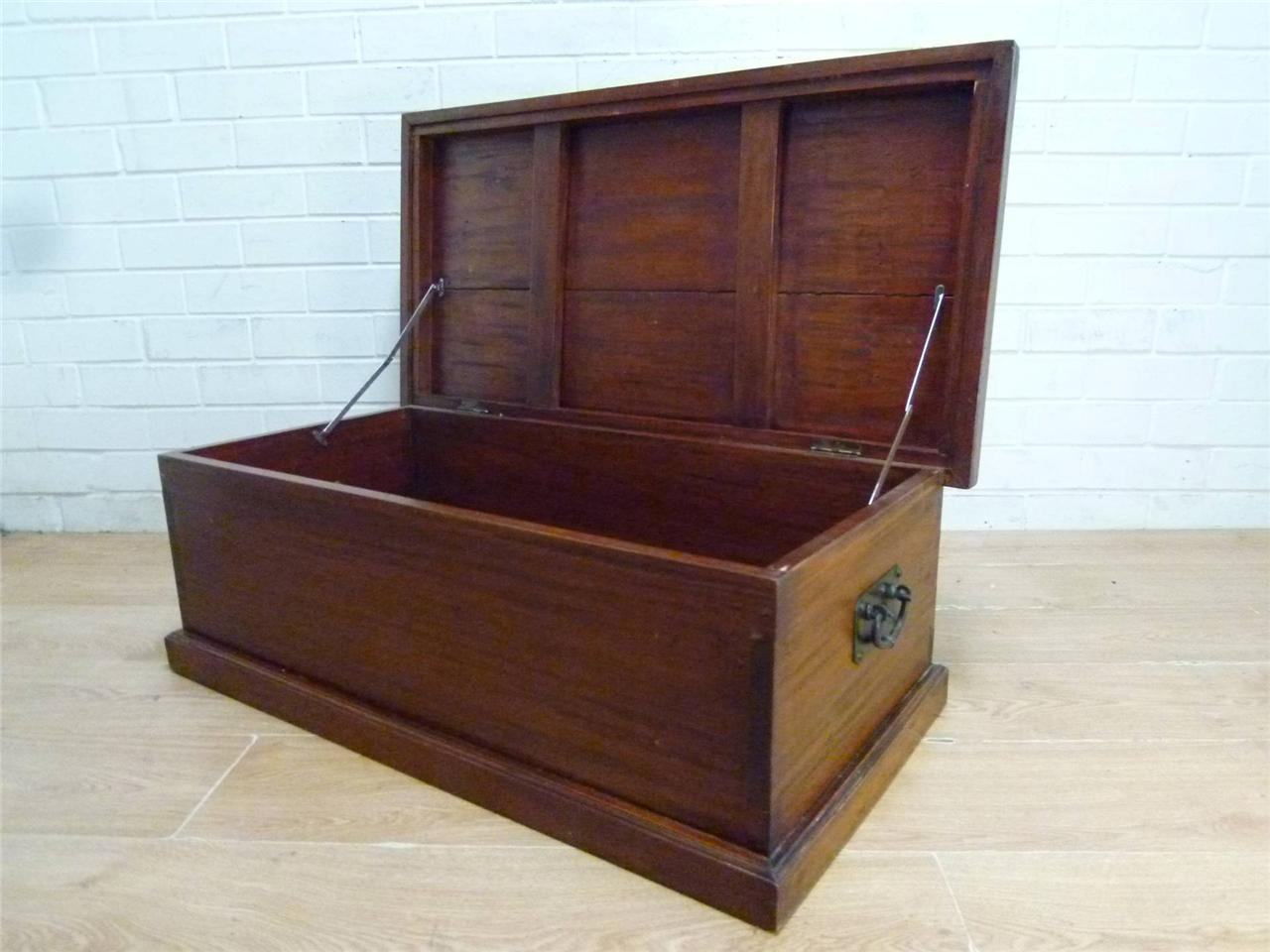 Period rustic solid mahogany storage chest trunk coffee table toy box ebay Coffee table storage chest