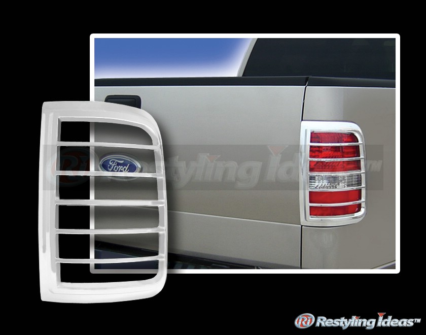 2004 2008 ford f150 styleside chrome tail light trims 2 pcs right. Black Bedroom Furniture Sets. Home Design Ideas