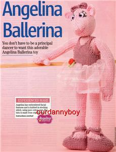 Knitting Patterns For Children s Tv Characters : CHILDRENS TV CHARACTER~Toy Doll Knitting Pattern~ANGELINA BALLERINA~Mouse~EAS...