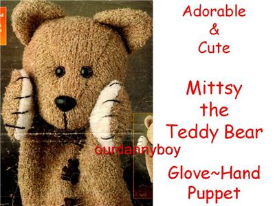 Details about Toy Knitting Pattern~ TEDDY BEAR GLOVE~ HAND PUPPET!