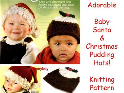 Knitting Pattern Christmas Pudding Hat Baby : DEBBIE BLISS WOOL~ Baby Aran Knitting Pattern ~ SANTA & CHRISTMAS PUDDING...