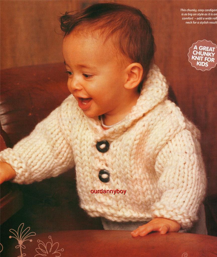 ROWAN~ BABY/TODDLER~ Winter Knitting Pattern~ CHUNKY ROLL NECK CARDIGAN ~ JAC...