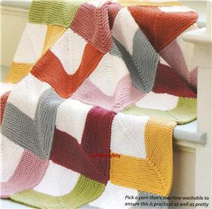 BABY ~ Aran Knitting Pattern ~ MITRED SQUARE BLANKET ~ Patchwork Throw~ Picni...