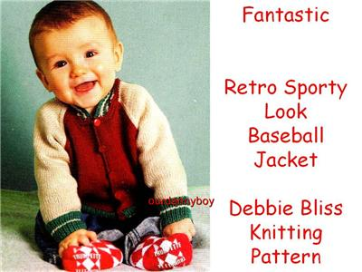 DEBBIE BLISS ~ Baby/Toddler Knitting Pattern ~ BASEBALL JACKET for Boys &...
