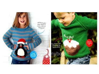 2xCHRISTMAS Intarsia Knitting Pattern~ XMAS PUDDING & PENGUIN JUMPER~ S...