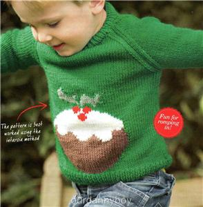 Knitting Pattern For Christmas Pudding Jumper : 2xCHRISTMAS Intarsia Knitting Pattern~ XMAS PUDDING & PENGUIN JUMPER~ S...