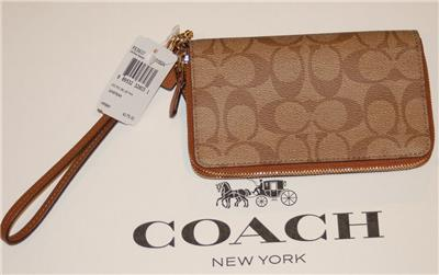 coach gray wallet  coach signature pvc wristlet