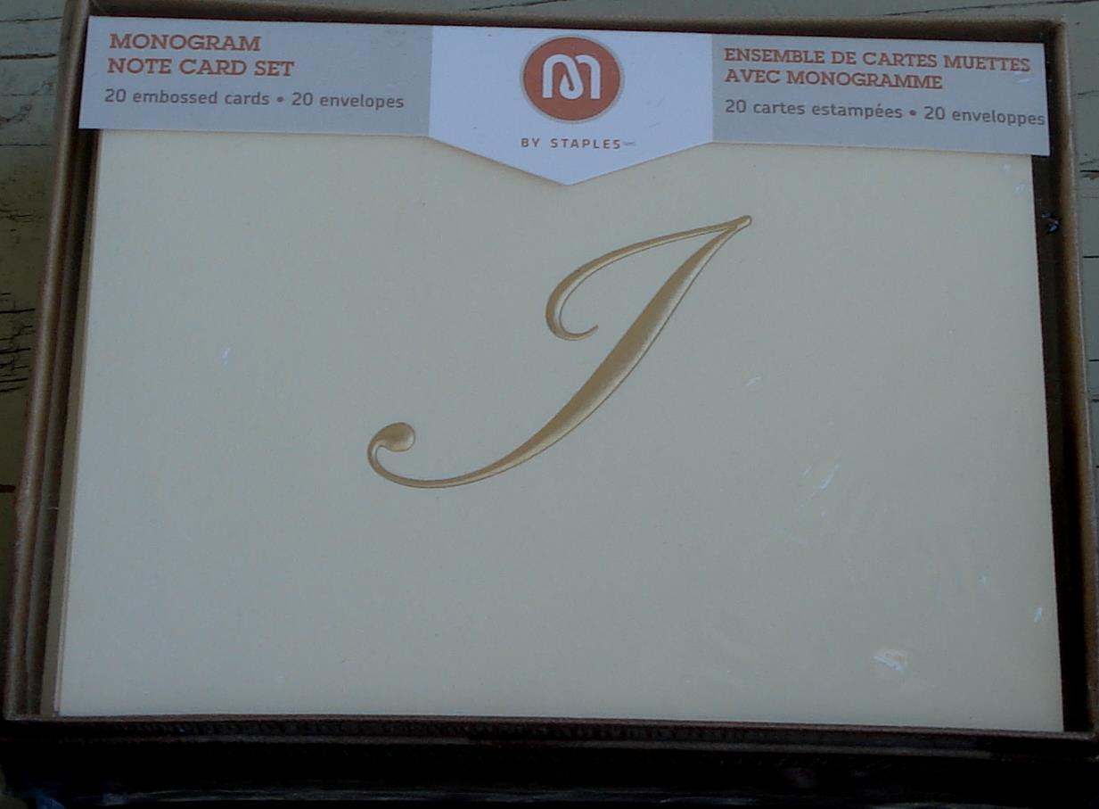staples monogram note card set 20 embossed cards - Embossed Note Cards
