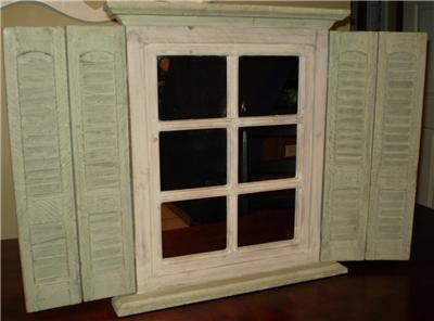 Home interior window mirror with shutters green home interiors wall decor ebay for Decorative interior wall shutters