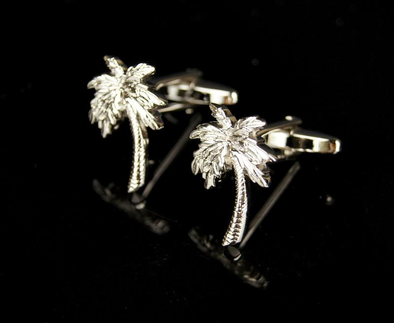 NEW-Rare-Funny-Coconut-Tree-Silver-Cufflinks-NEW-BOXED-Gift-Idea