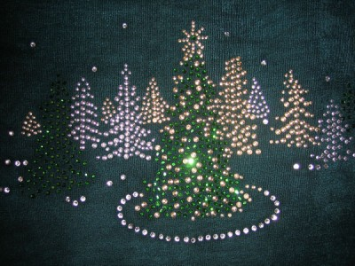 CHRISTMAS TREES & Snow~ Iron On Rhinestone Transfer