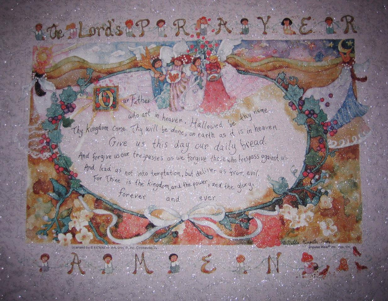 Lord 39 s prayer fabric angels heaven girls children for Children s fabric panels