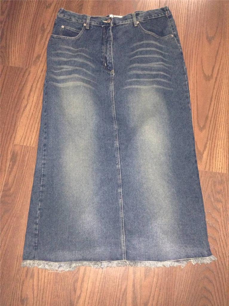 capistrano modest jean denim skirt size 16 euc