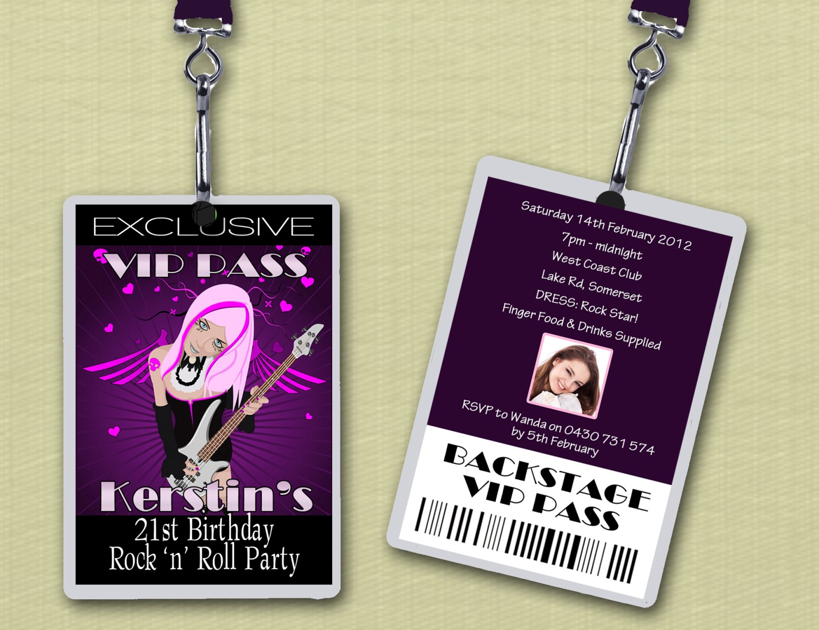 Personalised Rock And Roll Vip Lanyard Birthday Invitations X 10 On