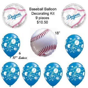 Los angeles dodgers baseball balloon birthday party for Balloon decoration los angeles