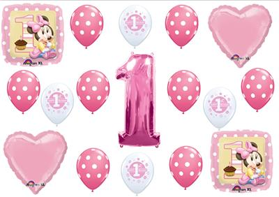 Minnie Mouse 1st First Birthday Balloons Party Supplies