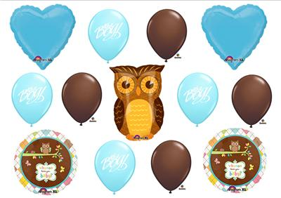 Owl Baby Boy Shower Balloons Decorations Supplies New