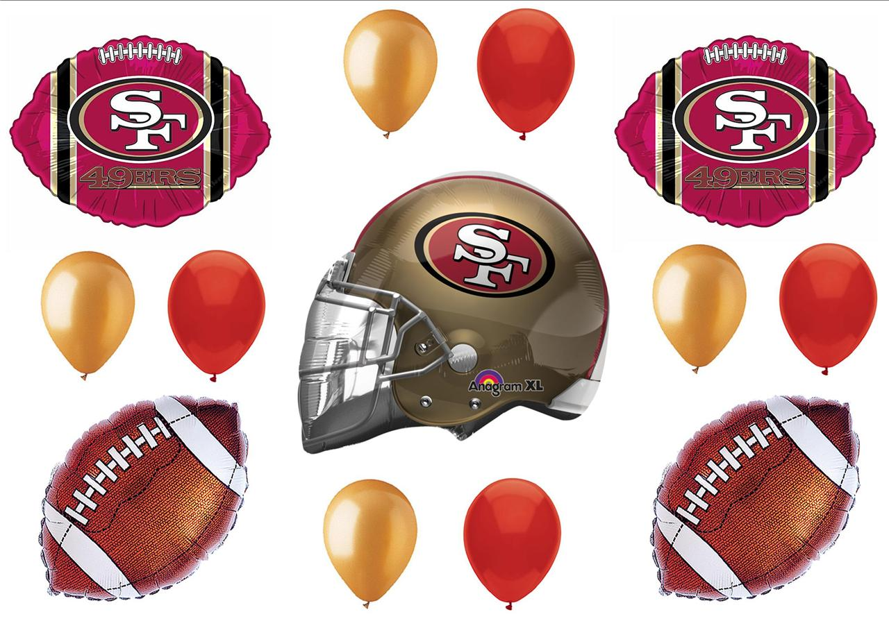 San francisco 49ers super bowl football party balloons for Super bowl party items