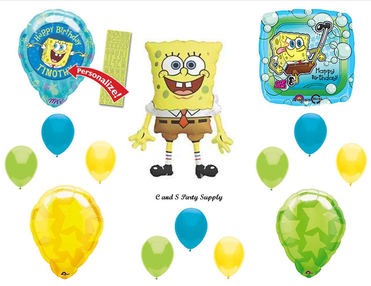 Spongebob personalized happy birthday party balloons for Balloon decoration equipment