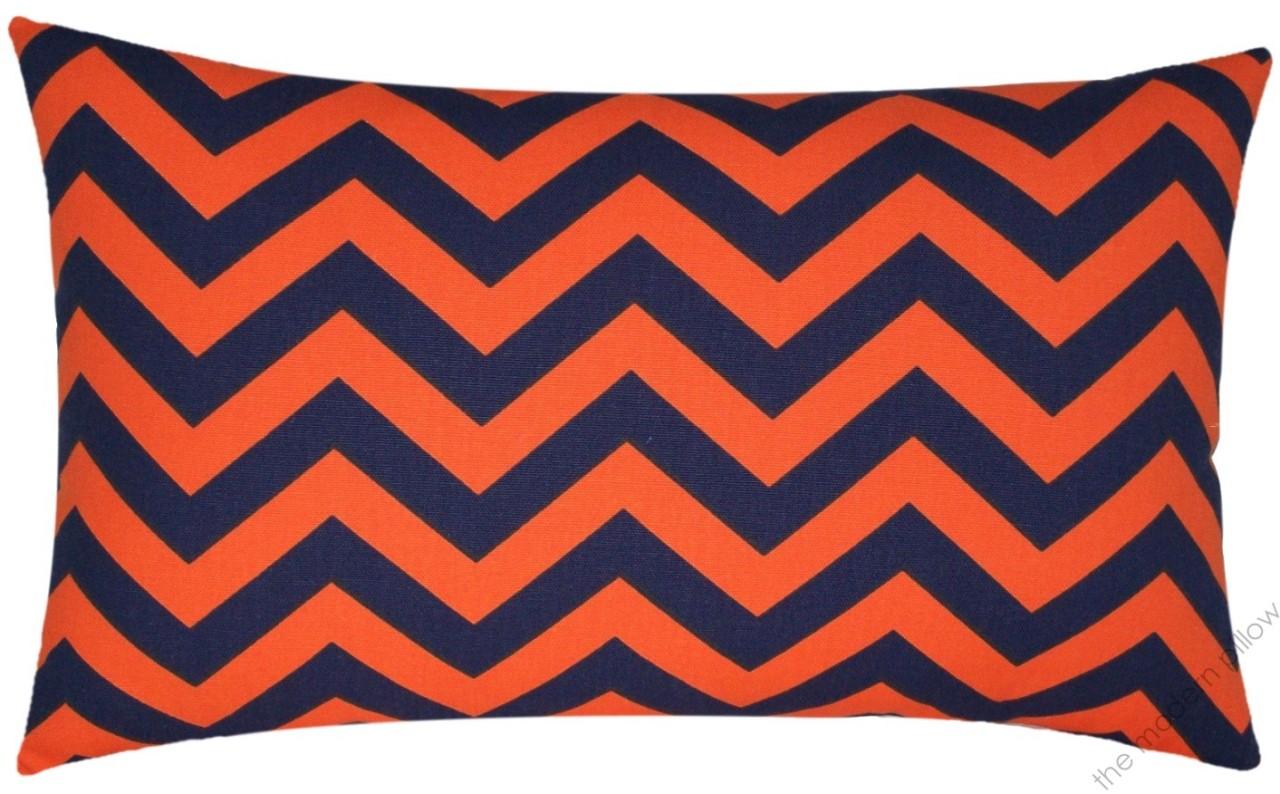 Orange / Navy Blue Chevron Decorative Throw Pillow Cover/Cushion Cover 12x20