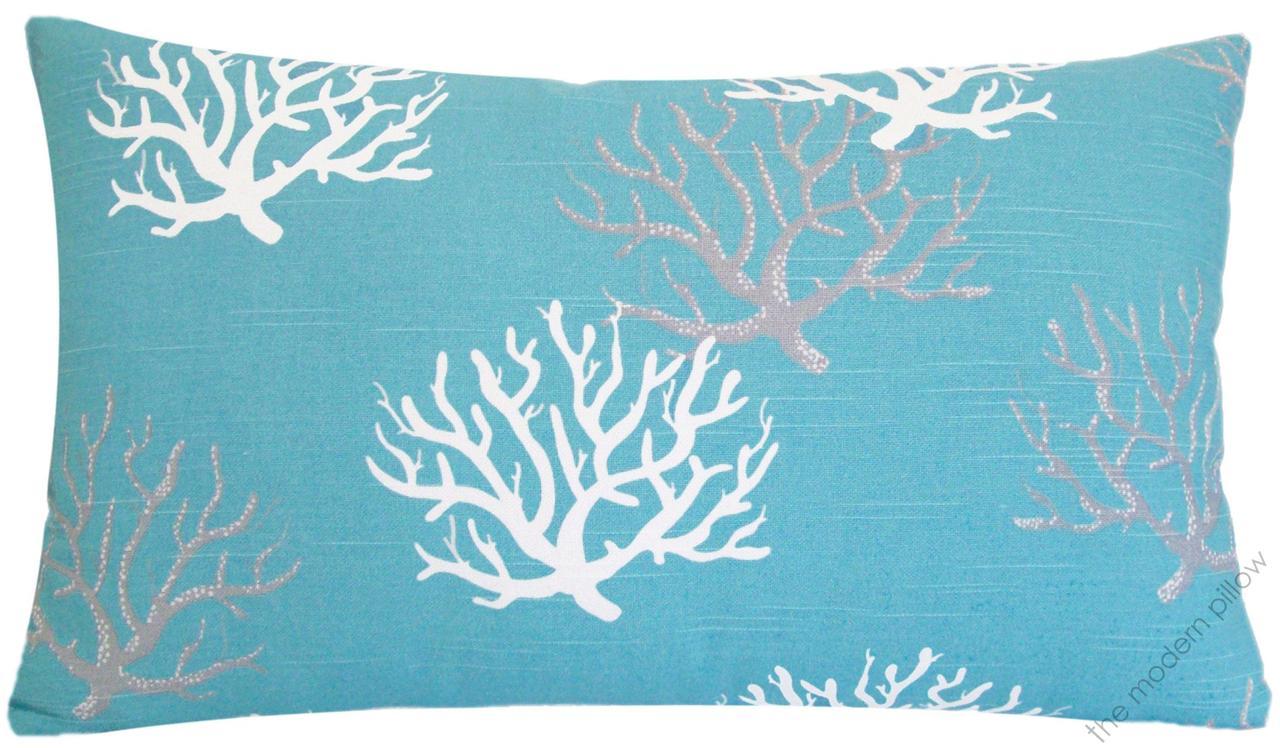 Aqua Blue Coral Decorative Throw Pillow Cover/Cushion Cover 12x20