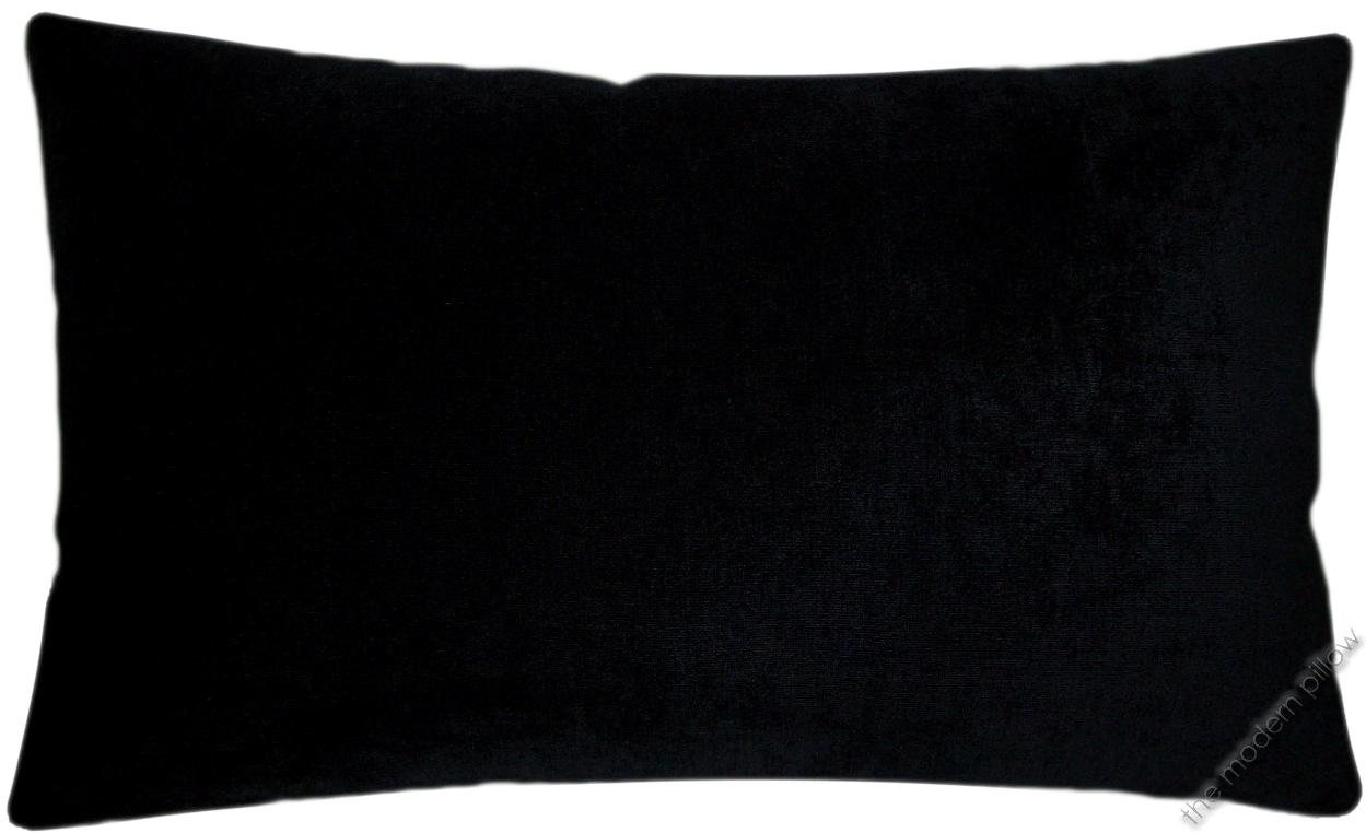Black Velvet Solid Decorative Throw Pillow Cover Cushion